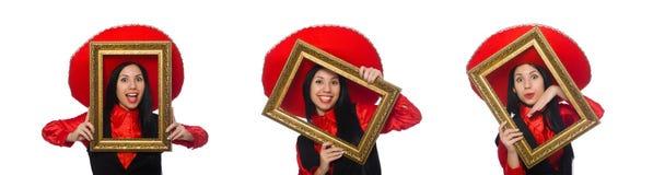 La mujer mexicana con el marco en blanco imagen de archivo