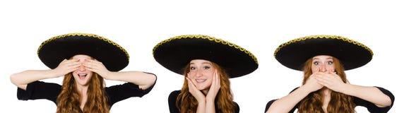 La mujer mexicana divertida adentro oye para ver speal imágenes de archivo libres de regalías