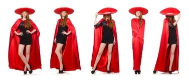 La mujer mexicana en ropa roja en blanco Fotografía de archivo libre de regalías