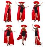 La mujer mexicana en ropa roja en blanco Imagenes de archivo