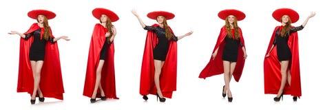 La mujer mexicana en ropa roja en blanco Fotografía de archivo