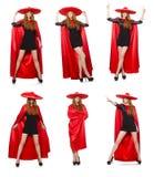 La mujer mexicana en ropa roja en blanco Foto de archivo