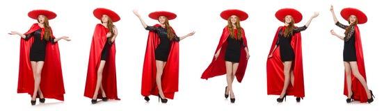 La mujer mexicana en ropa roja en blanco Imagen de archivo