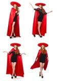 La mujer mexicana en ropa roja en blanco Fotos de archivo libres de regalías