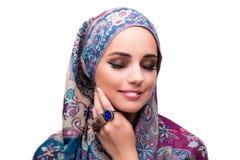 La mujer musulmán en concepto de la moda aislada en blanco Foto de archivo libre de regalías