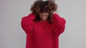 La mujer negra de la raza mixta en estudio con el pelo rizado grande lo sacude en la cámara lenta almacen de video