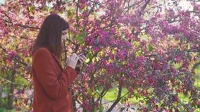 La mujer pelirroja joven atractiva utiliza smatphone en parque en la puesta del sol Flores de la primavera de la cereza o de los  almacen de video