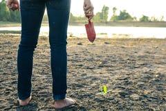 La mujer plantó un árbol en una tierra azotada por la sequía en esperanzas foto de archivo