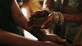 La mujer pone granos verdes en las palmas de la novia metrajes