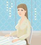 La mujer por la tabla con el té ilustración del vector
