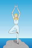 La mujer practica yoga en naturaleza Foto de archivo libre de regalías