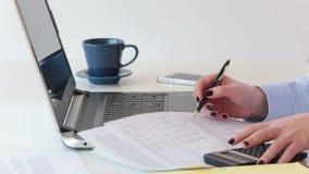 La mujer profesional joven trabaja en informes financieros