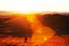 La mujer que camina en puesta del sol del prado Fotos de archivo libres de regalías
