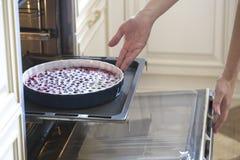 La mujer que cocina en la cocina, pone las tortas en el horno Preparatio Foto de archivo libre de regalías