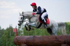 La mujer que el eventer en caballo está supera la cerca del registro Imágenes de archivo libres de regalías