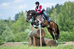 La mujer que el eventer en caballo está supera la cerca del registro Imagen de archivo