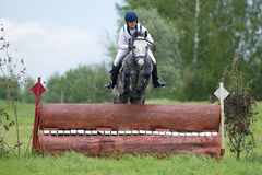 La mujer que el eventer en caballo está supera la cerca del registro Fotografía de archivo