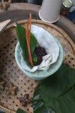 La mujer que hace un té del arroz del brebaje imagenes de archivo