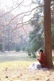 La mujer que lee un ebook o una tableta en un parque urbano, se sienta debajo de árbol Imagen de archivo
