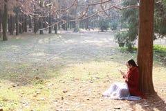 La mujer que lee un ebook o una tableta en un parque urbano, se sienta debajo de árbol Imágenes de archivo libres de regalías