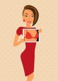 La mujer que lleva el vestido rojo está ligando usando la tableta ilustración del vector