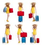 La mujer que se prepara para las vacaciones de verano Imagen de archivo