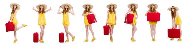 La mujer que se prepara para las vacaciones de verano Imagenes de archivo