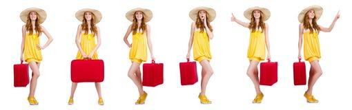 La mujer que se prepara para las vacaciones de verano Fotos de archivo