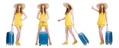 La mujer que se prepara para las vacaciones de verano Foto de archivo libre de regalías