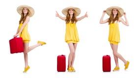 La mujer que se prepara para las vacaciones de verano Fotografía de archivo libre de regalías