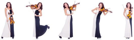 La mujer que toca el violín aislado en el fondo blanco Foto de archivo