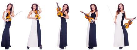 La mujer que toca el violín aislado en el fondo blanco Fotos de archivo
