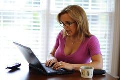 La mujer que trabajaba en el ordenador en el país basó asunto Imagen de archivo