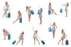 La mujer que viaja con la maleta aislada encendido imágenes de archivo libres de regalías