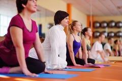 La mujer 40s enganchó a yoga en el centro de aptitud Forma de vida activa fotos de archivo