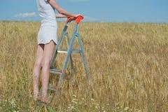 La mujer se coloca en el stepladder Imagen de archivo