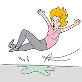 La mujer se desliza en piso mojado ilustración del vector