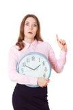 La mujer se está sosteniendo en reloj de las manos Emociones humanas Foto de archivo libre de regalías