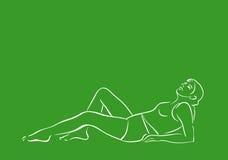 La mujer se relaja stock de ilustración