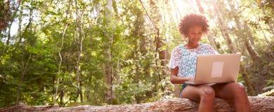 La mujer se sienta en tronco de árbol en Forest Using Laptop Computer Foto de archivo libre de regalías