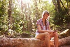 La mujer se sienta en tronco de árbol en Forest Using Mobile Phone Imagenes de archivo