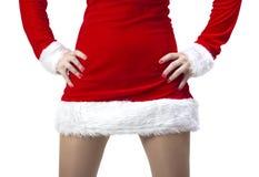 La mujer se vistió en Papá Noel Fotografía de archivo libre de regalías