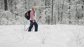 La mujer se vistió en ropa caliente de los deportes con una mochila que caminaba activamente en un sendero en el bosque que se so almacen de video