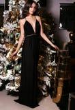 La mujer sensual con el pelo oscuro largo lleva el vestido elegante y los accesorios Foto de archivo
