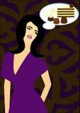 La mujer soña los dulces Foto de archivo