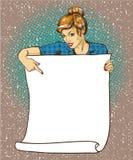 La mujer sostiene el cartel en blanco del Libro Blanco Ejemplo retro cómico del vector del estilo del arte pop Ponga su propia pl ilustración del vector