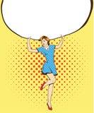 La mujer sostiene el cartel en blanco del Libro Blanco Ejemplo retro cómico del vector del estilo del arte pop Ponga su propia pl libre illustration