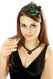 La mujer sostiene Martini Imagenes de archivo