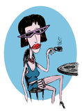 La mujer subido de tono bebe el café Fotos de archivo