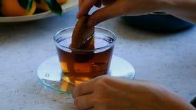 La mujer sumerge la galleta de la avena en té caliente almacen de metraje de vídeo